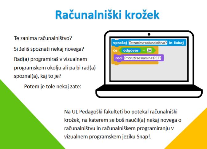 Računalniški krožek – UL Pedagoška fakulteta